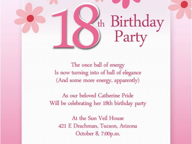 18 Year Old Birthday Party Invitations 18th