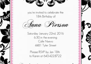 18th Birthday Invitation Wording Ideas Party Adult Invitations
