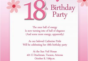 18th Birthday Invitation Wording Ideas Party Wordings And Messages