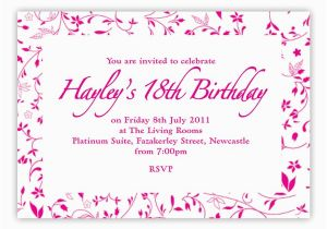 18th Birthday Invitation Wording Samples Invites Invitations Templates Free