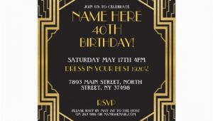 1920s Birthday Party Invitations 1920 39 S Art Deco Birthday Invite Gatsby Party Gold Zazzle Com