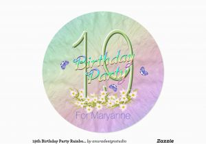 19th Birthday Invitations 19th Birthday Party Rainbow and butterflies 5 25 Quot Square