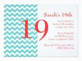 19th Birthday Invitations Turquoise and Coral Chevron Birthday Invitation Zazzle Com