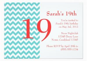 19th Birthday Invitations Turquoise and Coral Chevron Birthday Invitation Zazzle Com