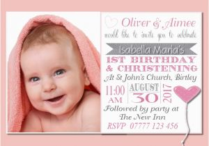 1st Birthday And Christening Invitation Wording First Birthday And