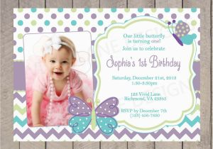 1st Birthday Butterfly Invitations Girl First Invitation Butterflies Spring