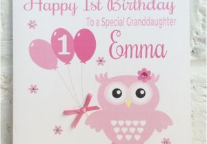 1st Birthday Cards For Granddaughter Personalised Pink Owl Card By Linzibees