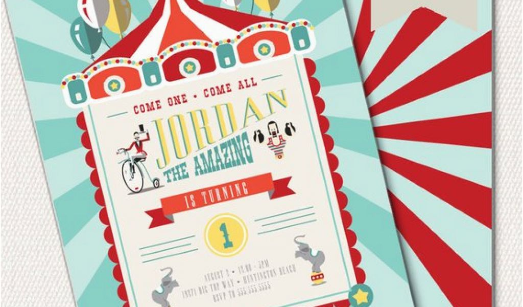 1st Birthday Circus Invitations Circus Invitation Circus Theme