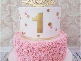 1st Birthday Girl Cakes Designs First Birthday Cake with Pink and Gold theme