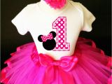 1st Birthday Girl Outfits Tutu Hot Pink Polka Dots Minnie Mouse Girl 1st First Birthday