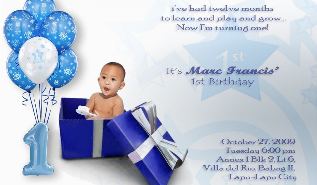 Download By SizeHandphone Tablet Desktop Original Size Back To 1st Birthday Invitation Card For Baby Boy Online