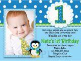1st Birthday Invitation Card for Baby Boy Online Printable Birthday Invitations Little Boys Penguin Party
