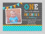 1st Birthday Invitation for Boys Boys 1st Birthday Invitation Chevron Polka by