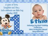 1st Birthday Invitation Message for Baby Boy Baby Mickey 1st Birthday Invitations Eysachsephoto Com