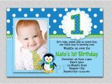 1st Birthday Invitation Message for Baby Boy Penguin Birthday Invitation Penguin 1st Birthday Party