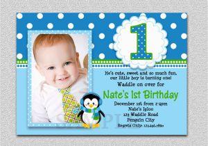 1st Birthday Invitation Wording For Boys Penguin Party Invites