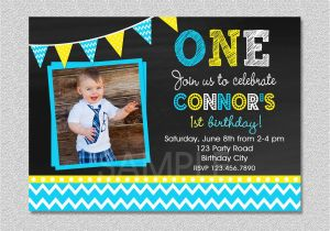 1st Birthday Invitations Boy Online Free Chalkboard Invitation Chevron Boys