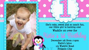 1st Birthday Invitations for Girls Printable Birthday Invitations Girls Penguin Party