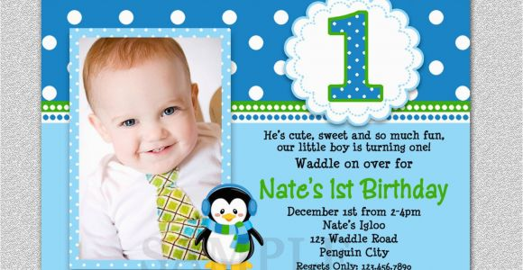 1st Birthday Invitations Free Penguin Birthday Invitation Penguin 1st Birthday Party Invites