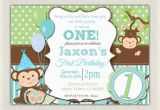 1st Birthday Monkey Invitations Boys Blue and Green Monkey 1st Birthday Invitation