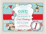 1st Birthday Monkey Invitations Boys Blue and Red Monkey 1st Birthday Invitation