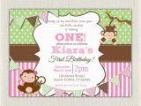 1st Birthday Monkey Invitations Girls Pink and Green Monkey 1st Birthday Invitation