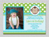 1st Birthday Monkey Invitations Mod Monkey Birthday Invitation 1st Birthday Polka Dot Birthday