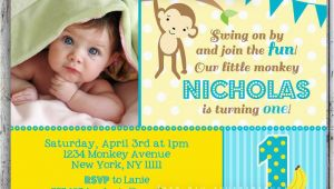 1st Birthday Monkey Invitations Mod Monkey Birthday Invitation 1st Birthday Polka Dot