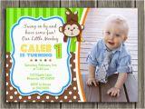 1st Birthday Monkey Invitations Printable Boy Monkey Birthday Photo Invitation Boy First