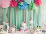 1st Birthday Party Table Decorations Kara 39 S Party Ideas Littlest Mermaid 1st Birthday Party