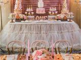 1st Birthday Party Table Decorations Kara 39 S Party Ideas Pink Gold 1st Birthday Party Kara 39 S