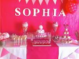 1st Birthday Party Table Decorations Party Ideas Pink Spots and Stripes themed Girls First