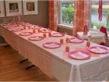 1st Birthday Party Table Decorations Pink and orange First Birthday Party