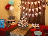 1st Birthday Party Table Decorations sock Monkey themed First Birthday Party Ideas