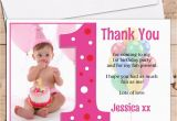 1st Birthday Photo Thank You Cards 10 Personalised Girls 1st First Birthday Thank You Photo