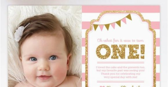 1st Birthday Photo Thank You Cards 1st Birthday Thank You Card 1st Birthday Thank You Note Pink