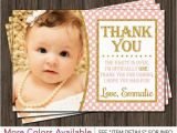 1st Birthday Photo Thank You Cards First Birthday Thank You Card Peach Pink and Gold