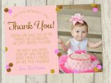 1st Birthday Photo Thank You Cards First Birthday Thank You Card Pink Gold Glitter Thank You