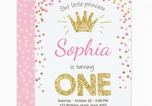 1st Birthday Princess Invitations Free Printables First Invitation Gold Pink Zazzle Com