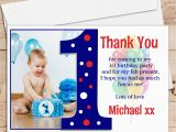 1st Birthday Thank You Card Messages 10 Personalised Boys First 1st Birthday Thank You Photo