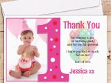1st Birthday Thank You Card Messages 10 Personalised Girls 1st First Birthday Thank You Photo