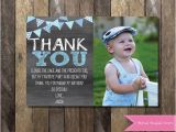 1st Birthday Thank You Card Messages Chalkboard Thank You Card with Picture Chalkboard Thank You