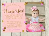 1st Birthday Thank You Card Messages First Birthday Thank You Card Pink Gold Glitter Thank You