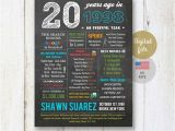20th Birthday Gifts for Him Personalized 20th Birthday Gift Idea for Him Boyfriend Best