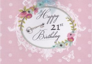 21 Birthday Flowers Flowers and Key 21st Birthday Card Karenza Paperie