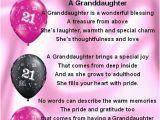21st Birthday Card Messages for Granddaughter Fridge Magnet Personalised Granddaughter Poem 21st