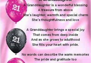 21st Birthday Card Messages For Granddaughter Fridge Magnet Personalised Poem
