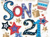 21st Birthday Cards for son son 21st Birthday Handmade Embellished Greeting Card