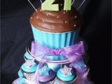 21st Birthday Cupcake Decorations Blue Purple and Green themed 21st Giant Cupcake tower