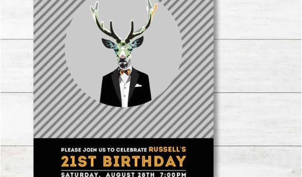 21st Birthday Invitations Male 21st Birthday Invitation Adult